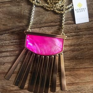 Kendra Scott Ellen Long Pink Fringe Necklace